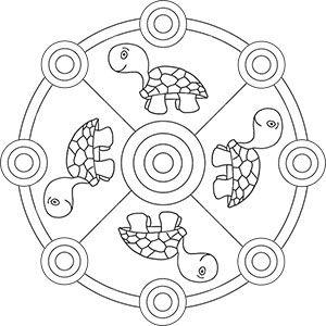 mandala väritys neljä kilpikonnia | ausmalbilder