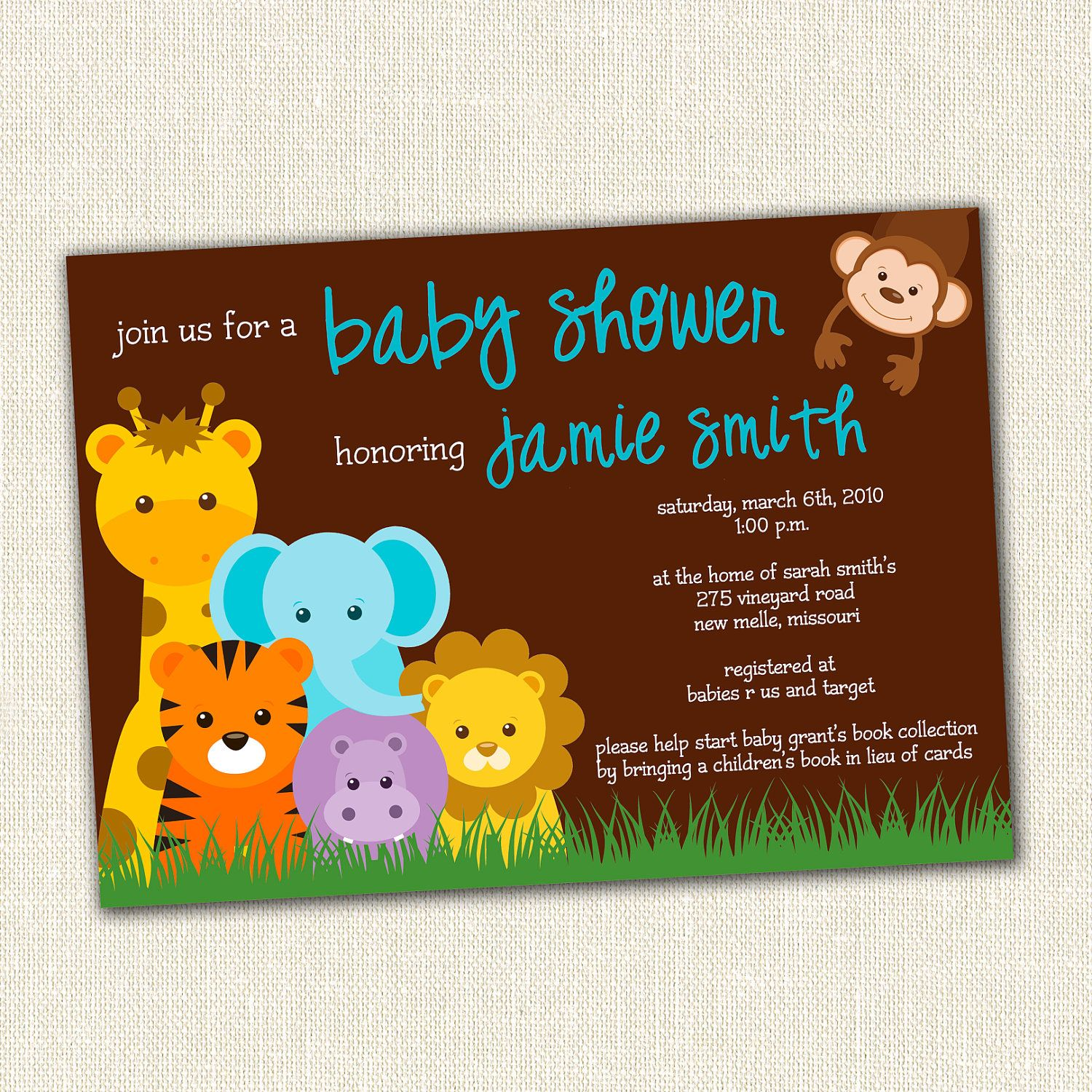 Jungle Theme Baby Shower Invitation by SimplyCreativeMel on Etsy ...