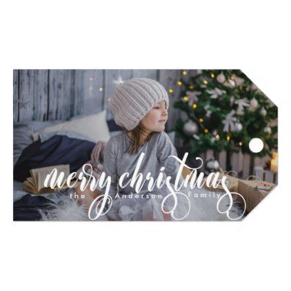 Modern Merry Christmas Script | Photo Gift Tags | Zazzle.com