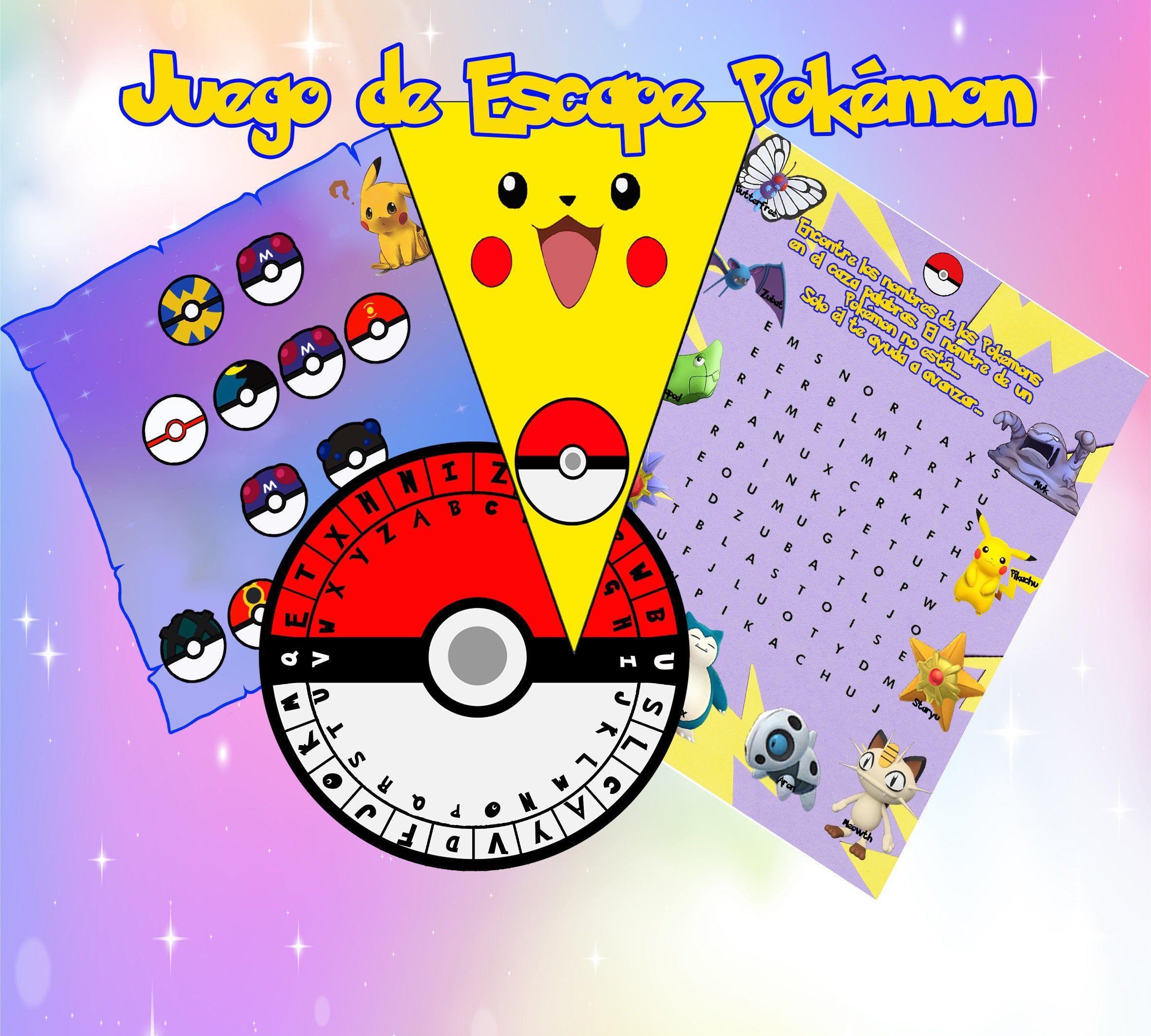 Escape Room Juego Pokemon Go Pikachu Juego En Casa Fiesta De Cumpleaños Para Niños Decoración Juegos Y Sombrero Españo Juegos De Pokemon Pokemon Go Pokemon