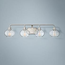 """Photo of Quoizel Trilogy 36 1/4 """"Wide Brushed Nickel Bathroom Light – # 18D25 
