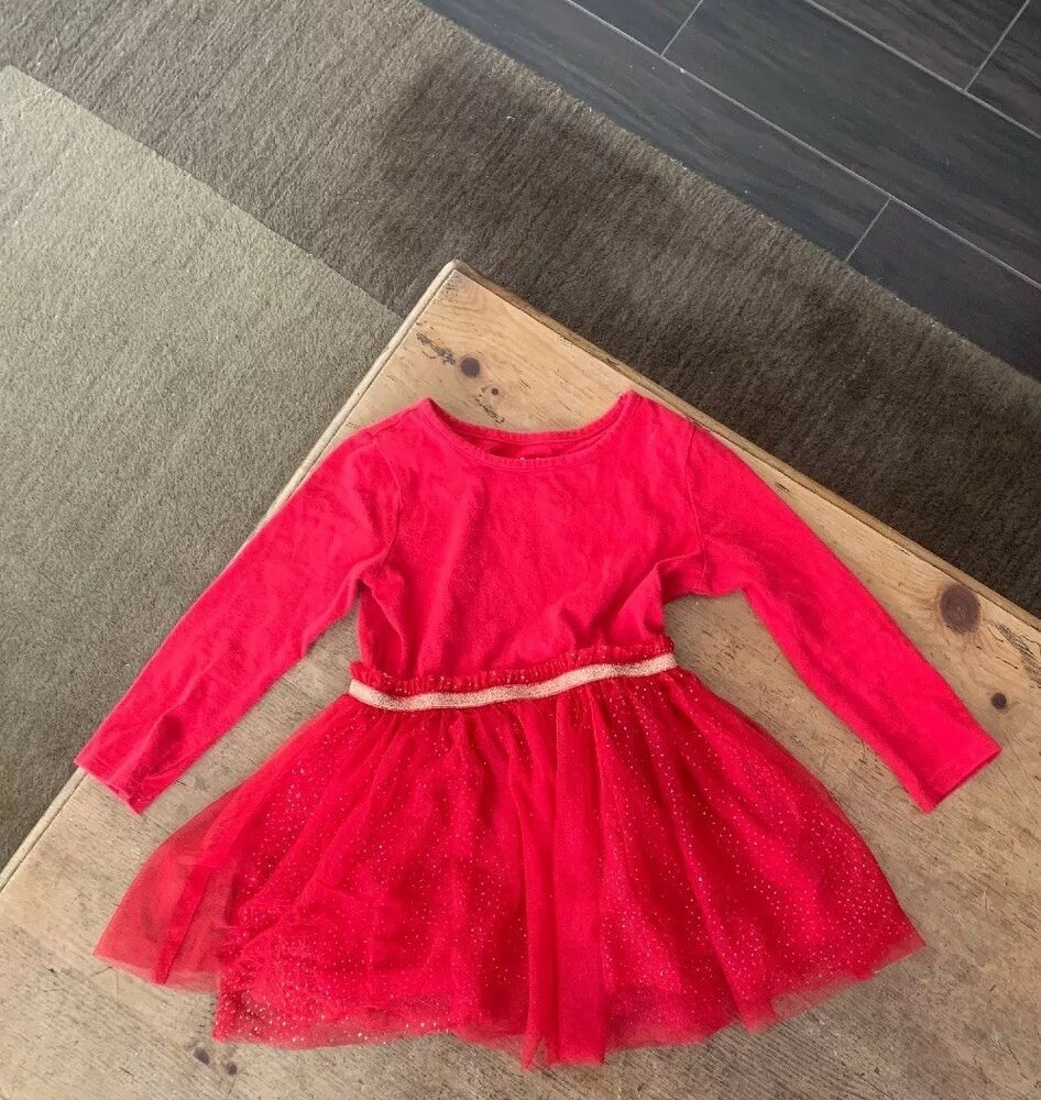 379fde776 4T Cat and Jack Girls Dress Red Tulle Christmas Xmas holiday pre ...