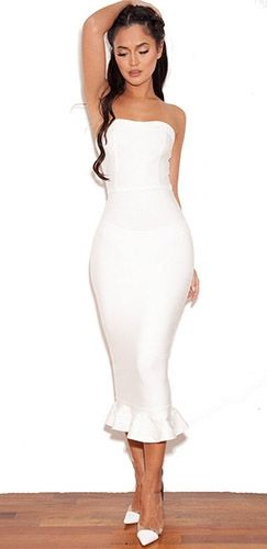 White Strapless Bandage Stretch Fluted Flare Hem Bodycon Midi ...