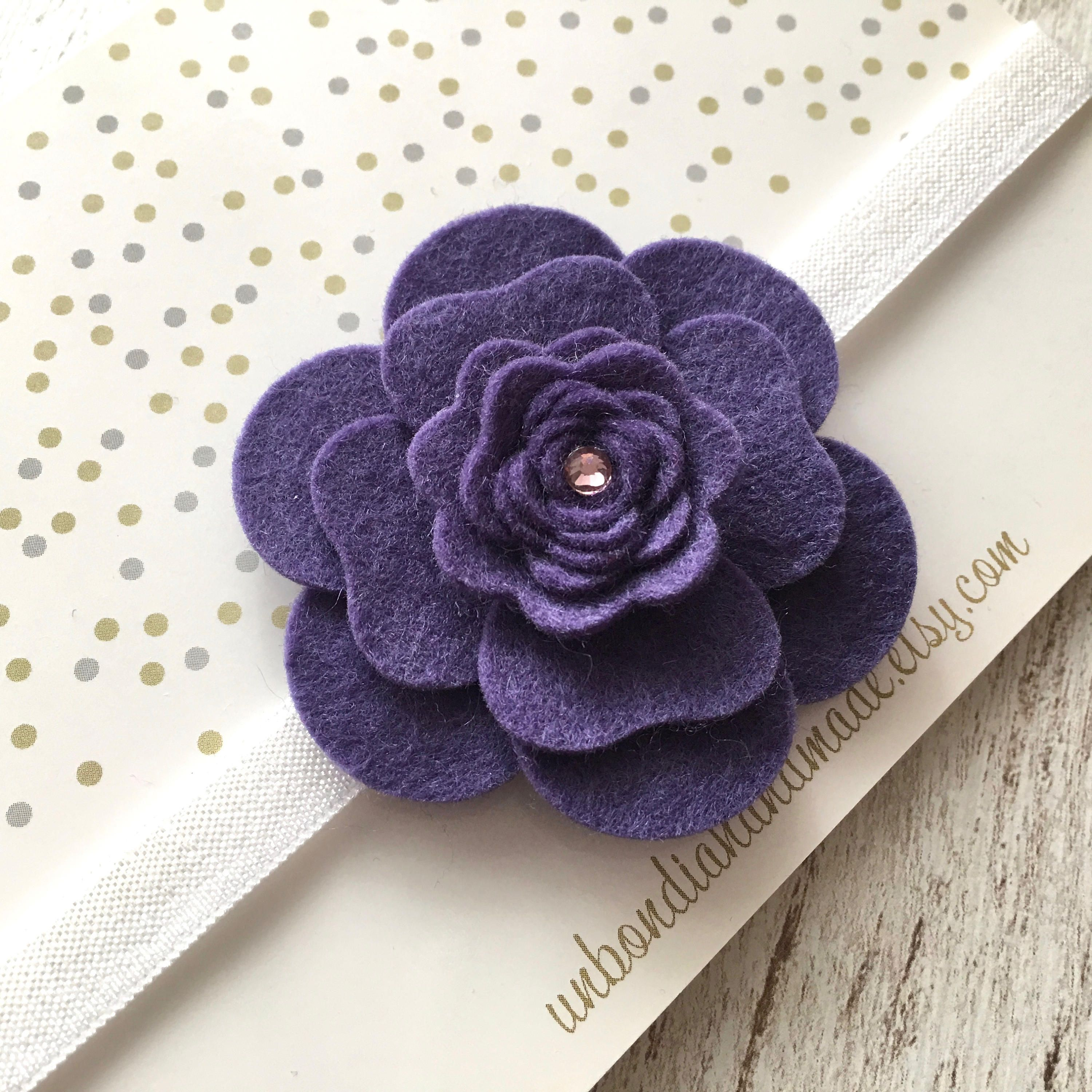 Felt Purple Flower Headband Camellia Baby Girl Headband Newborn
