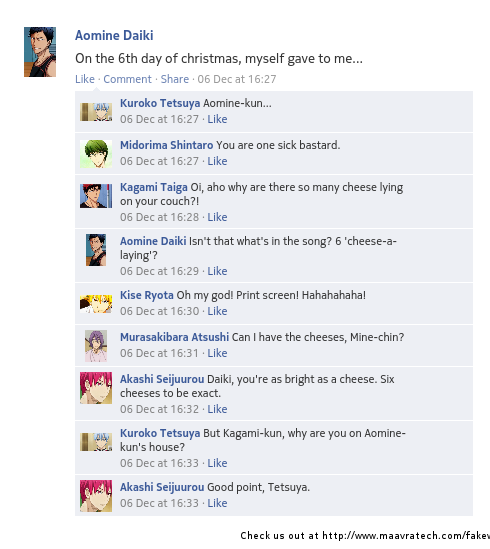 The only one who can give Aomine gifts is him. Yeeeeaaaahhhh.