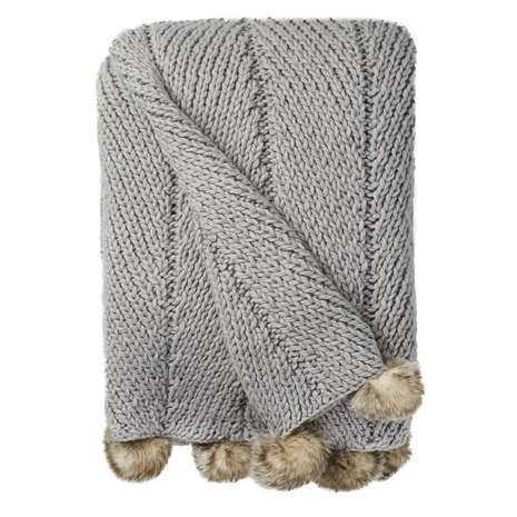 Grey Chunky Pompom Throw | Dunelm | BEDROOMS. | Knitted ...