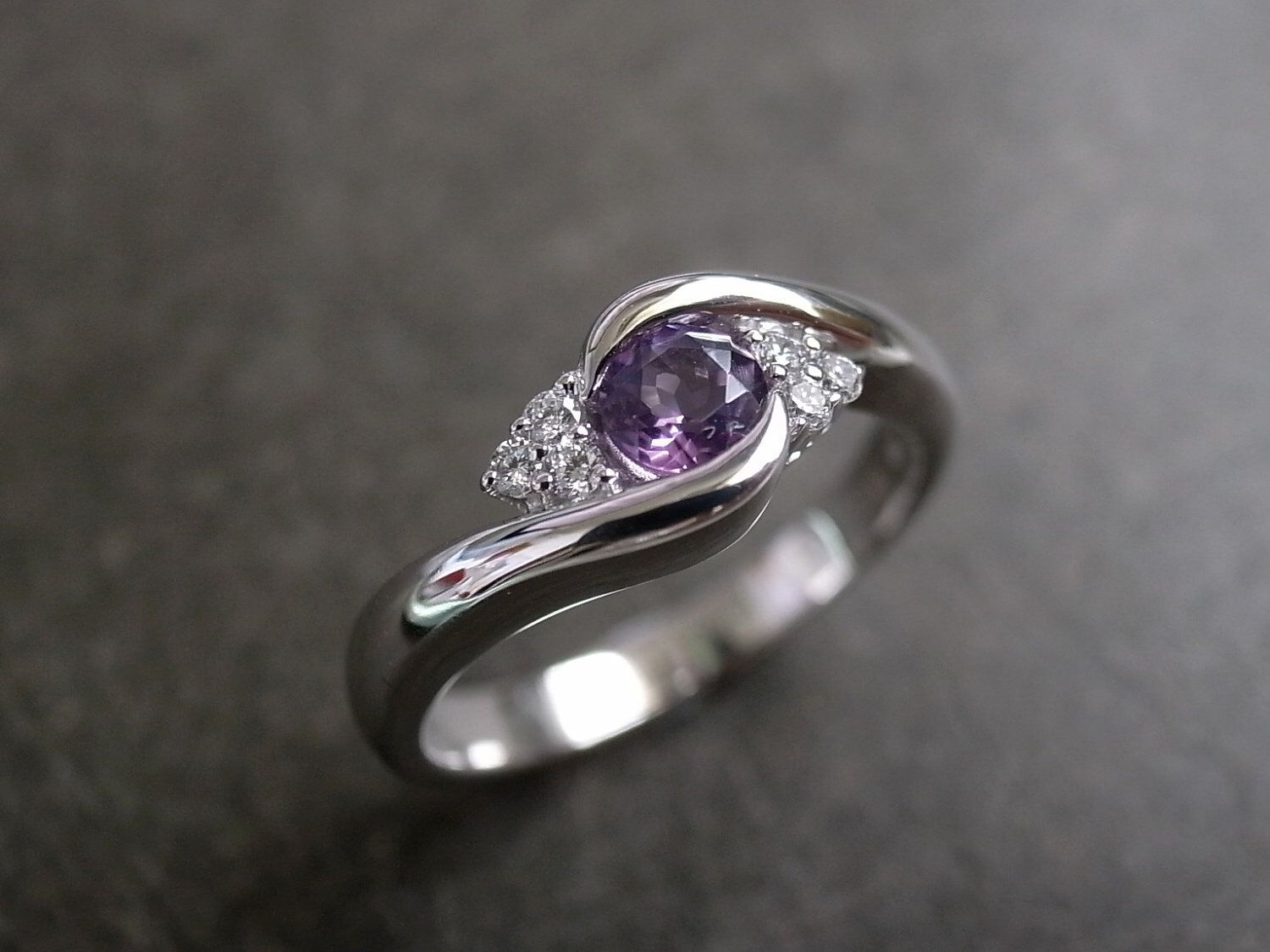 Diamond And Amethyst Engagement Ring In 14k White Gold Jewelry
