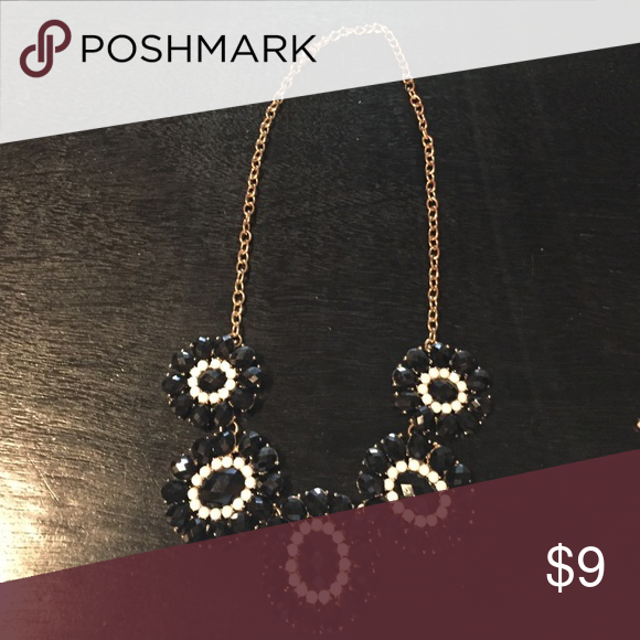 Black and white statement necklace Black and white floral pattern statement necklace back to gold hardware Jewelry Necklaces