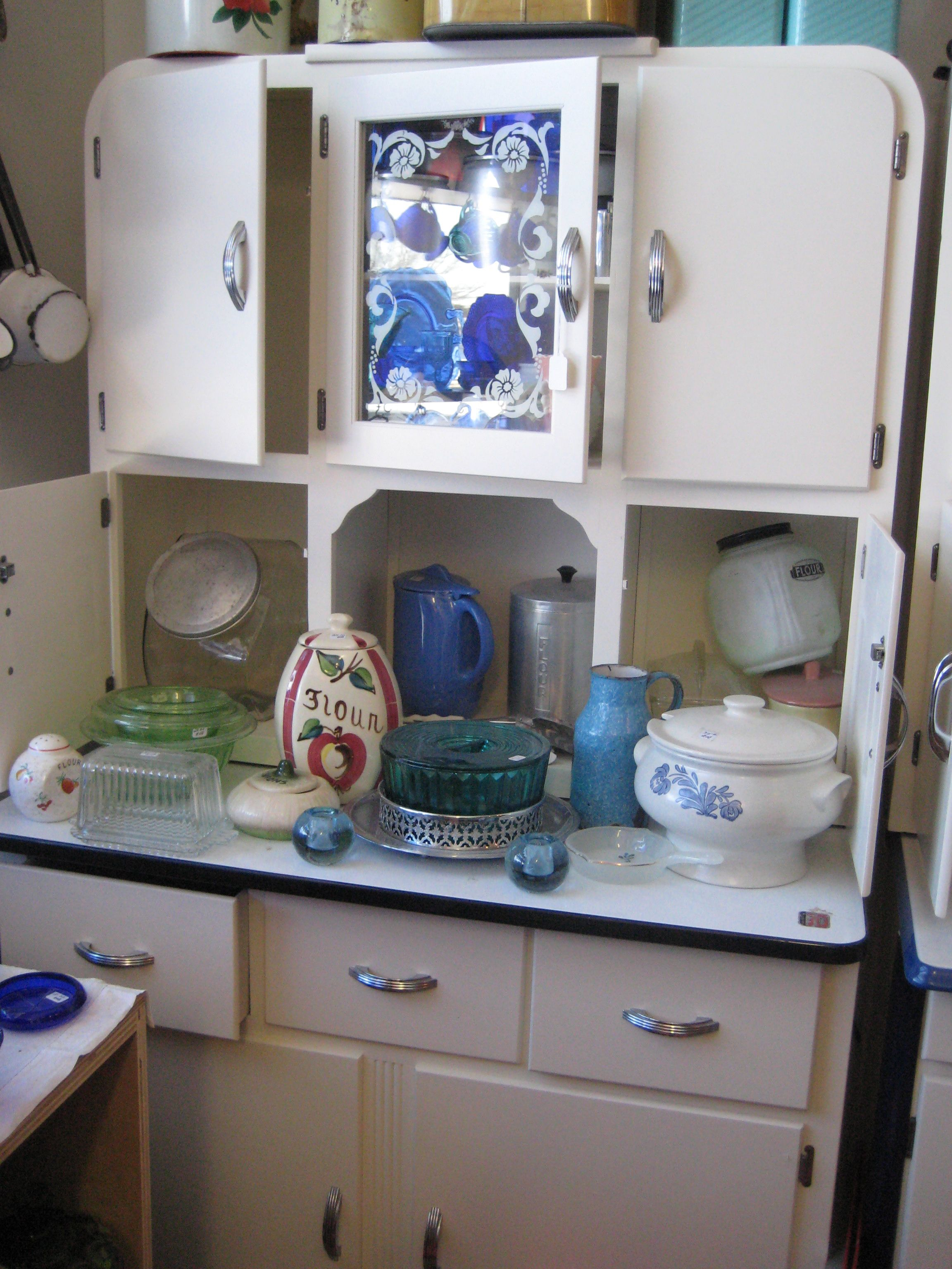 Vintage Kitchen Hutch Maple Table Retro Cupbord Collectibles Group