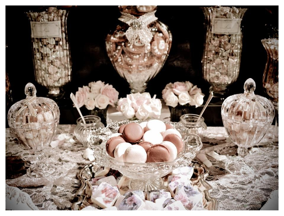 Crystal glassware, lace tablecloth, brooch with lace/ribbon, vintage silver tray, beautiful dessert table by Sweet Boutique Events
