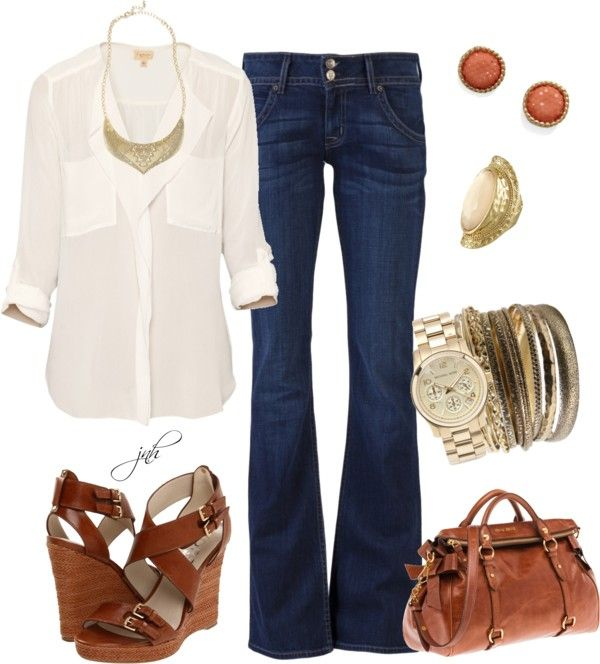 Really like cream-colored blouses right now.
