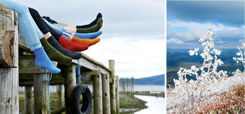 Varme ullsokker på hytta i alle farger