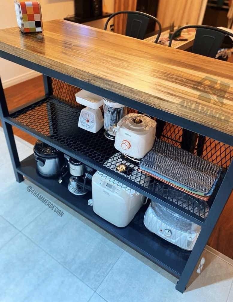 Desayunador Barra Hierro Y Madera Estilo Industrial 39 900 00 Muebles De Diseño Industrial Diseño Muebles De Cocina Muebles De Metal