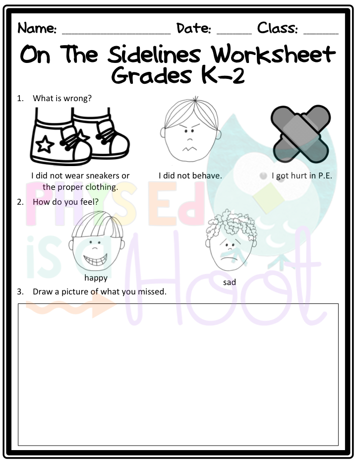 ON THE SIDELINES WORKSHEET | PE | Elementary physical education ...
