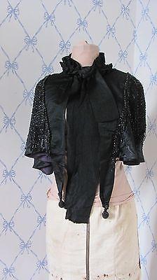Antique Victorian Black Heavily Beaded Cape Capelet Silk Satin Moire Gorgeous!