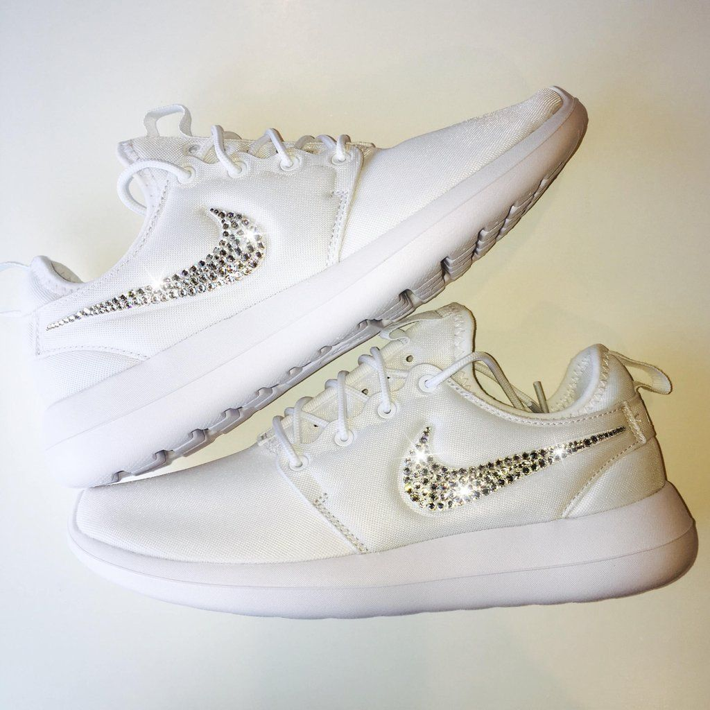 9edf3fa775adcd Bling Nike Roshe Two Shoes with Swarovski Crystals   White   Bedazzled  Authentic Swarovski Crystal Rhinestones