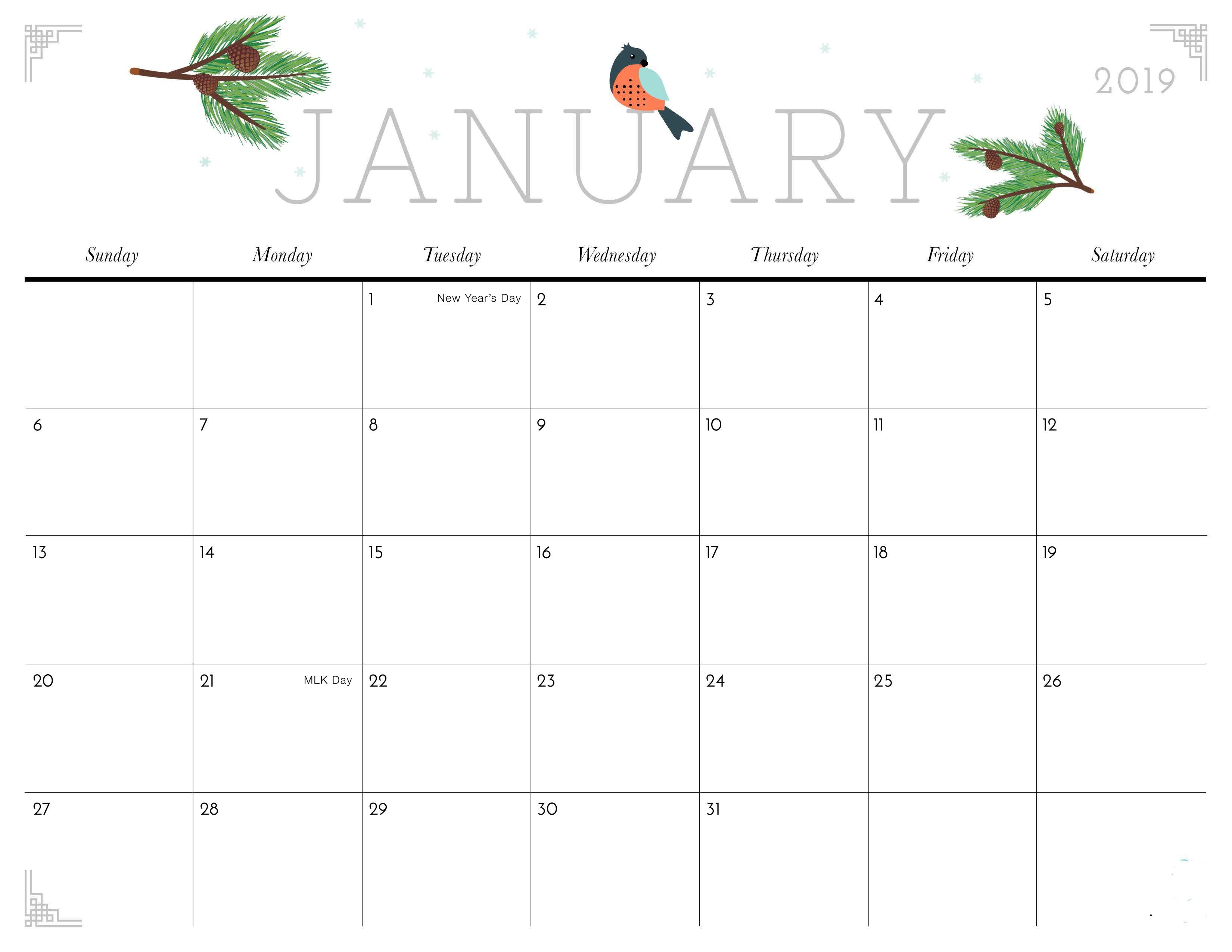 January Floral Calendar Free Download
