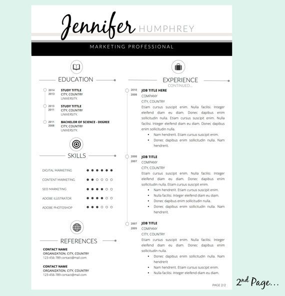 Pk Resume Template And Cover Letter For Word By Pappermint