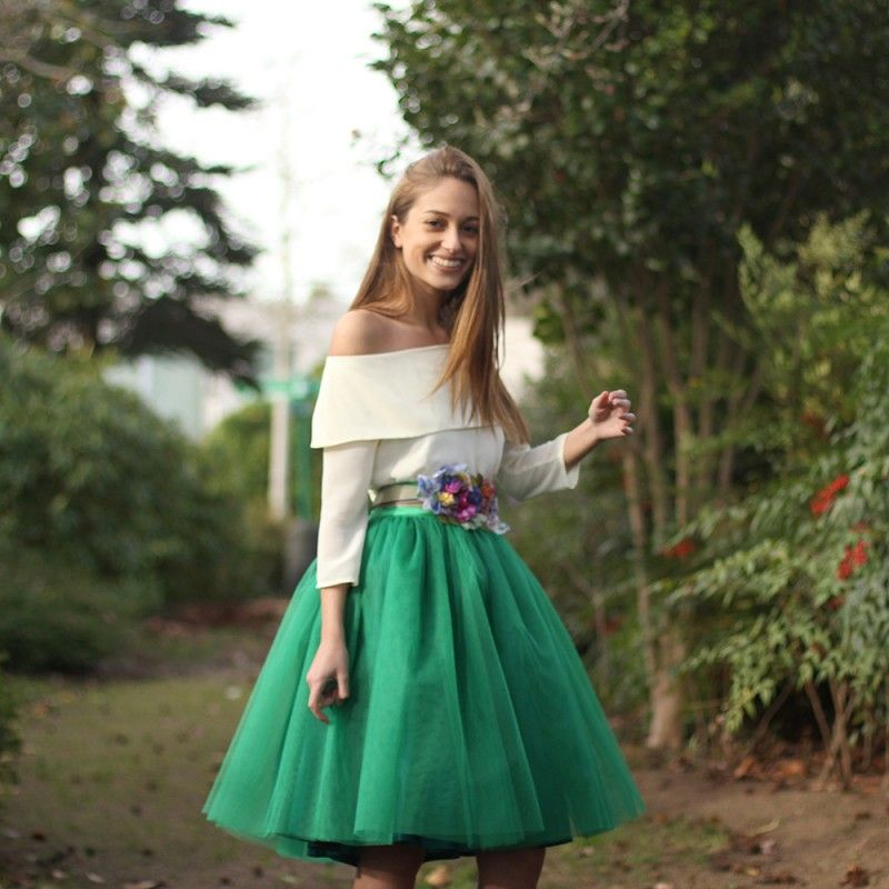 0c3a1199a5 Falda de tul tipo Carrie en color verde hecha a medida