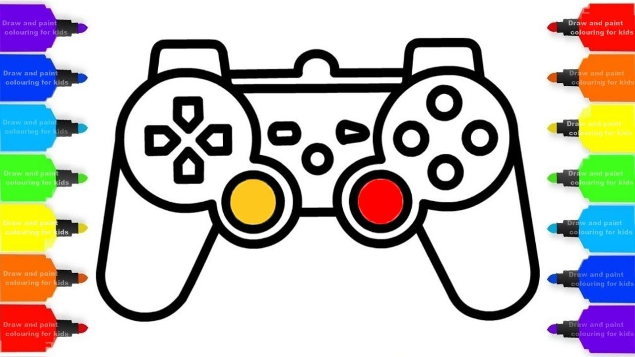 How To Draw Gamepad Ps4 Controller Colorful For Kids Coloring