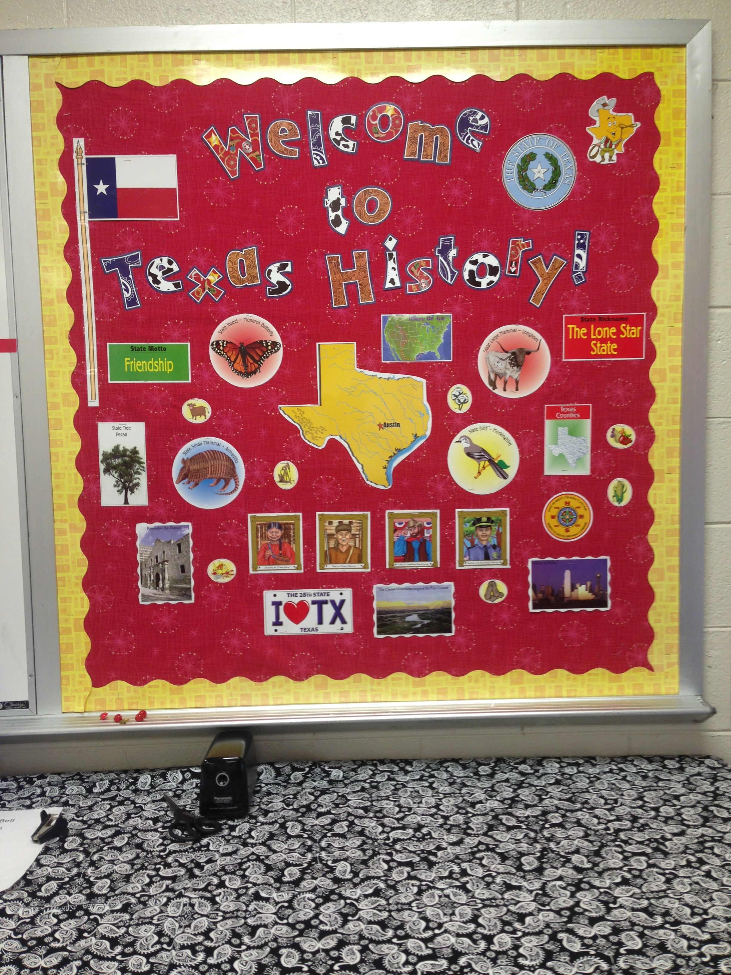 Texas History Welcome Bulletin Board