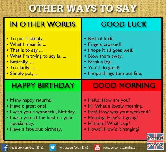 In Other Words Good Luck Happy Bday Good Morning English Made Easy