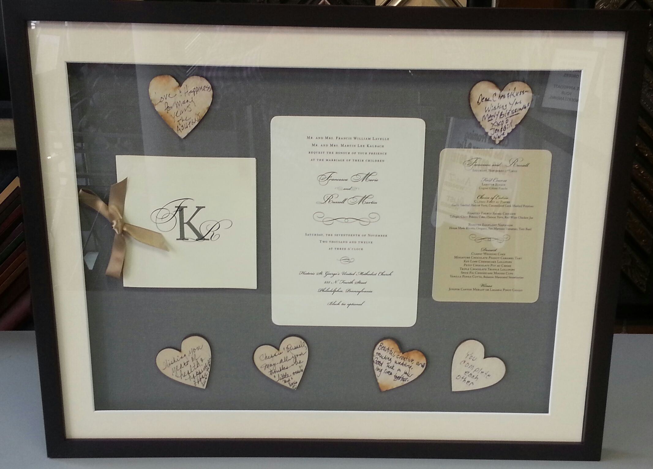 box wedding invitations online%0A Custom framed shadowbox wedding invitation including wooden hearts signed  by guests  Custom framed by FastFrame