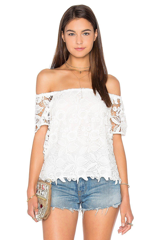 WAYF Off Shoulder Top In White Crochet
