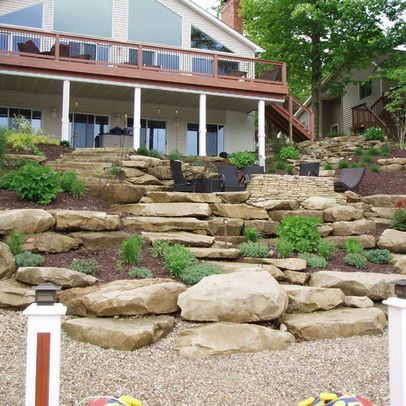 Tiered Yard Landscaping Landscape On A Hill Design Ideas Pictures Remodel And Decor Sloped Backyard Landscaping Landscaping On A Hill Hillside Landscaping
