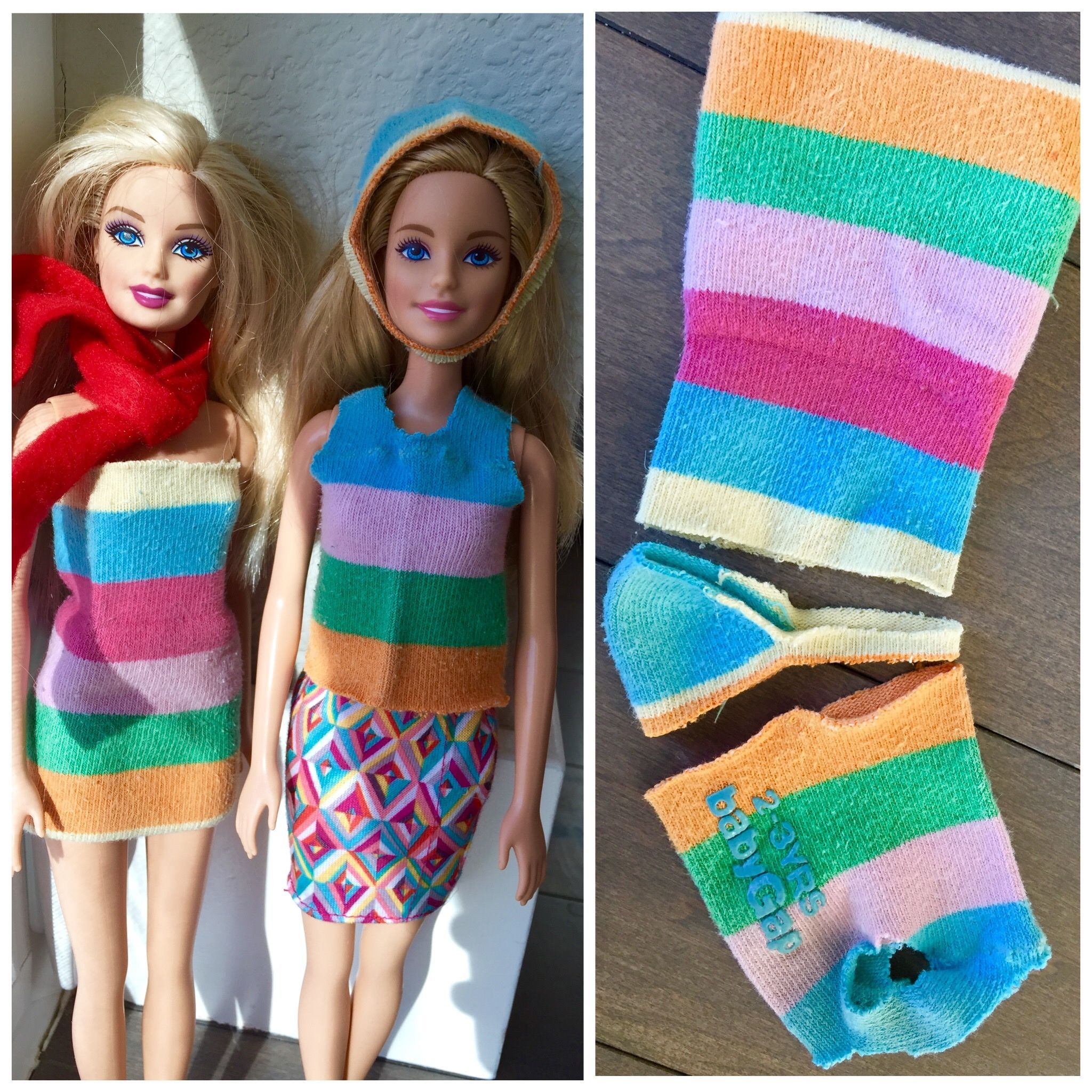 DIY sock Barbie clothes One sock makes a dress, a top