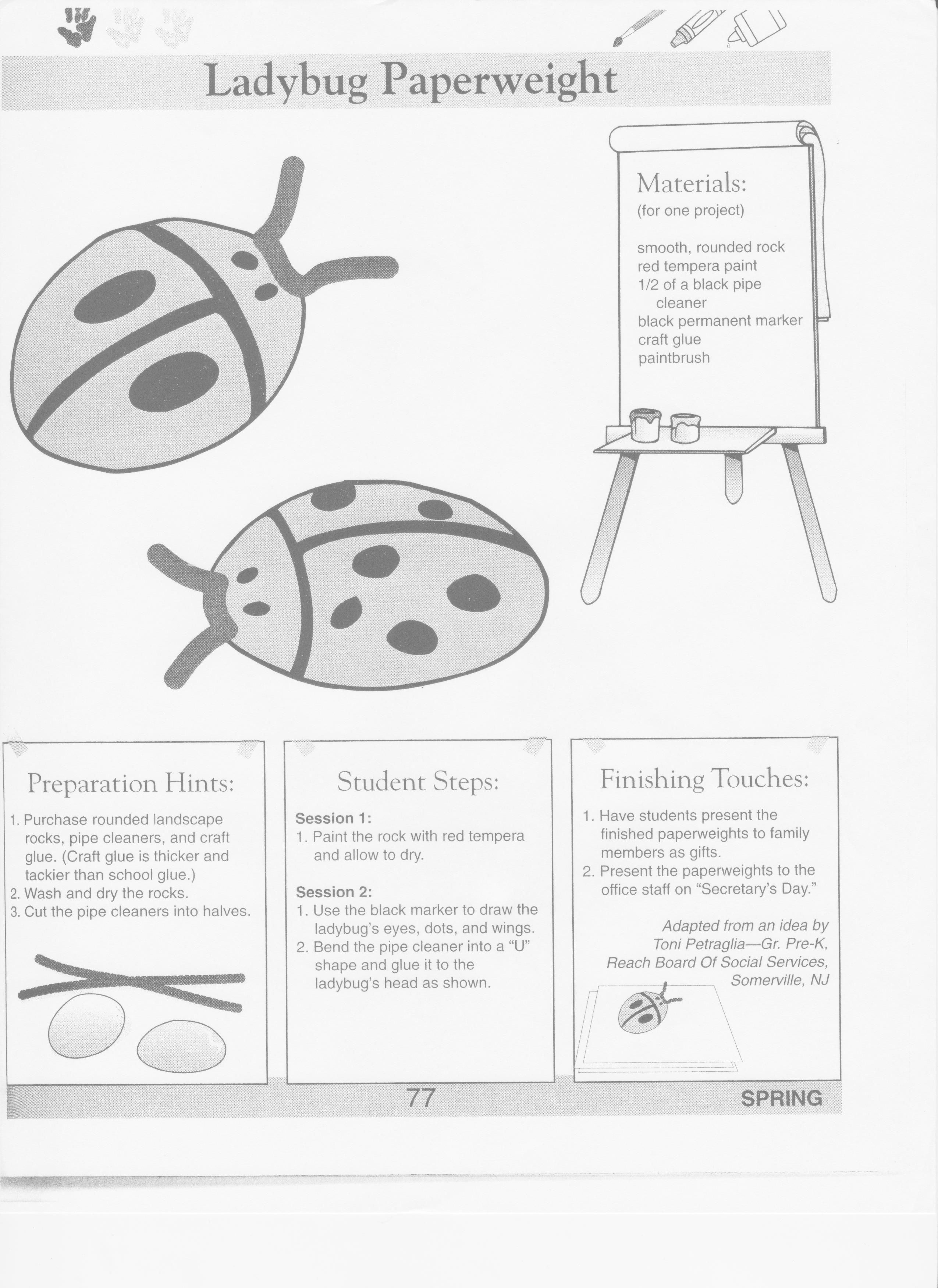 Ladybug Paperweight Early Childhood Curriculum Ideas Place