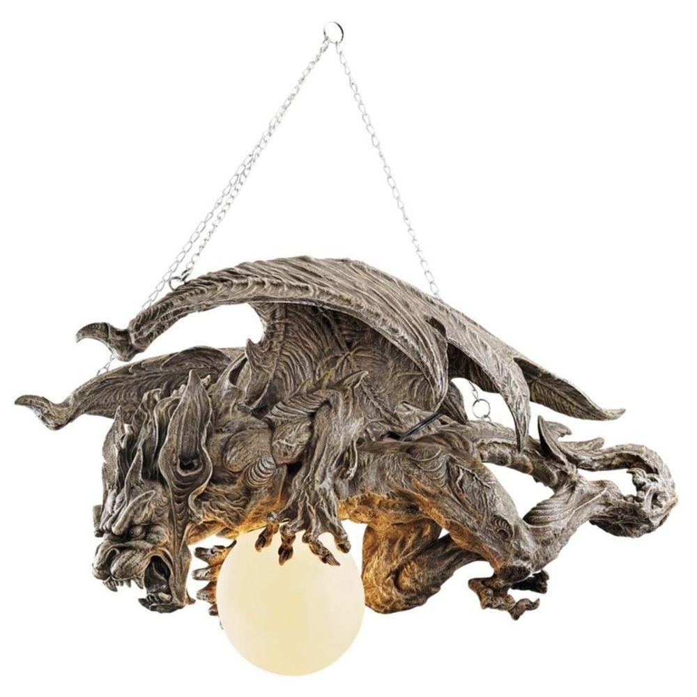 Hanging Dragon Gargoyle Lamp Chandelier Sculpture Illuminated