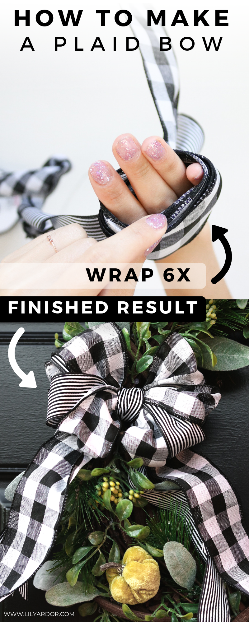 DIY Plaid Bow Wreath #howtomakeabowwithribbon
