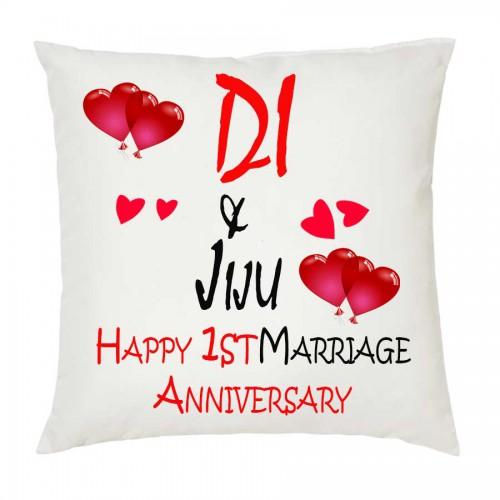 Juvixbuy Di Jiju Happy 1st Marriage Anniversary Printed White Cushion 12 Inch X 12 Inch With Happy Marriage Anniversary Marriage Anniversary Happy Marriage