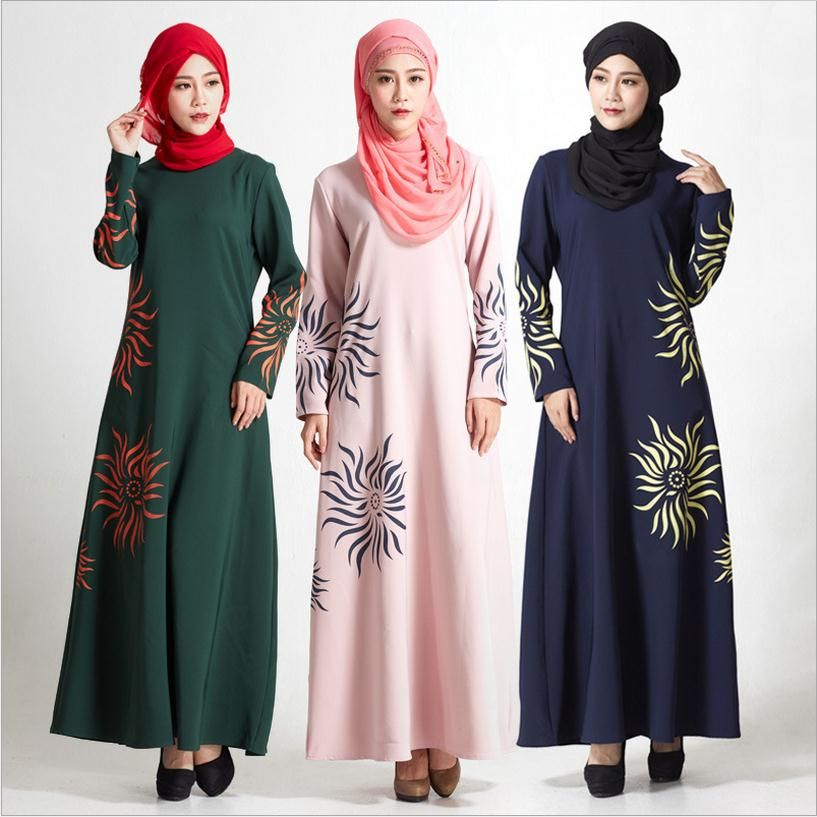Factory outlet Adult printed Sunflower Robe Turkish Dubai Fashion Muslim  was thin Abaya Dress Arab Worship