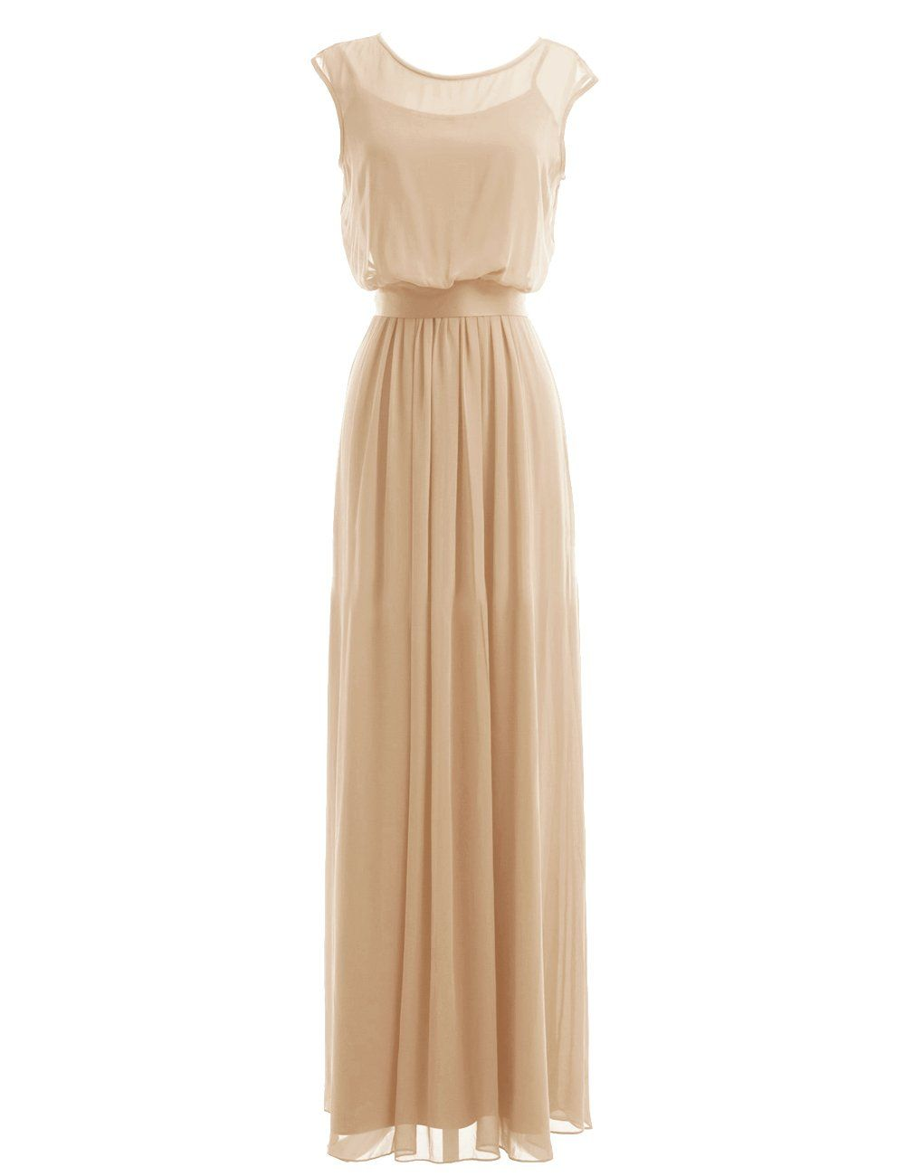 Diyouth long chiffon scoop neck bridesmaid dresses evening gowns