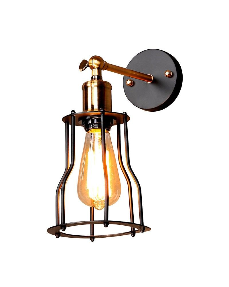 This Vintage Industrial Style Iron Cage Matte Black Wall Sconce adds a  little bit rustic style through your lighting device in your life.