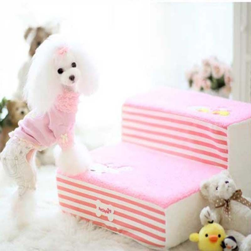 Cute Fleece Pet Dog Cat Bed Stairs For Small Dog High Density Foam Pet Steps