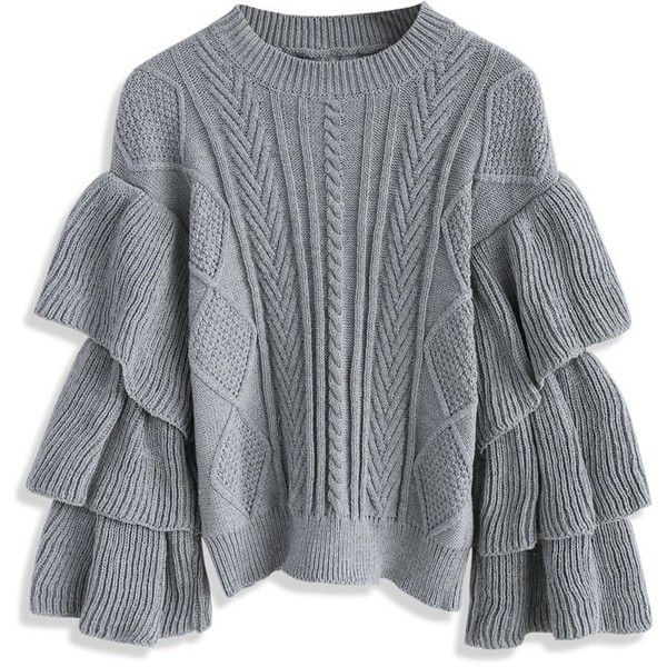 41cac3c5dc Chicwish Grey Cable Knit Sweater with Tiered Flare Sleeves (€56) ❤ liked on  Polyvore featuring tops