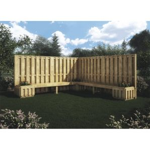 Free Standing Fence Package With Bench Planter Free Standing Fence Patio Fence Backyard Privacy