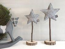 Stjerne Set grau - 2 Filz Sterne auf Echtholz #kreativjulepynt