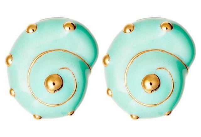 18K Gold Shell Earrings, Teal