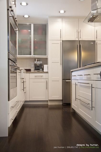 Love The Clean Look Only Pulls Horizontal And Vertical Way Too Big Though Contemporary Kitchen Tall Kitchen Cabinets Kitchen Design