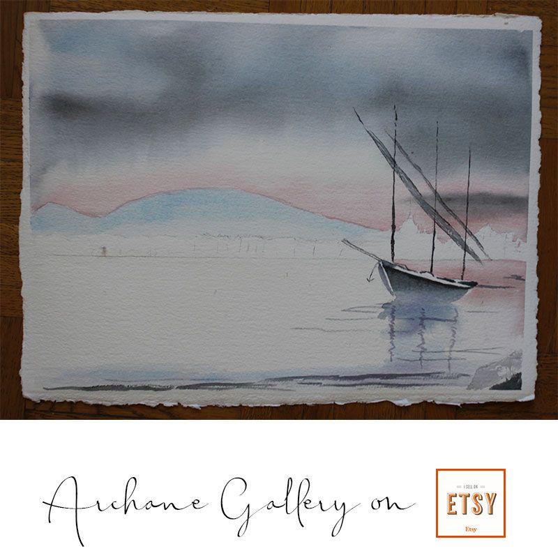 La Barge Du Leman Aquarelle Par Georgette Archane Gebel Geneva