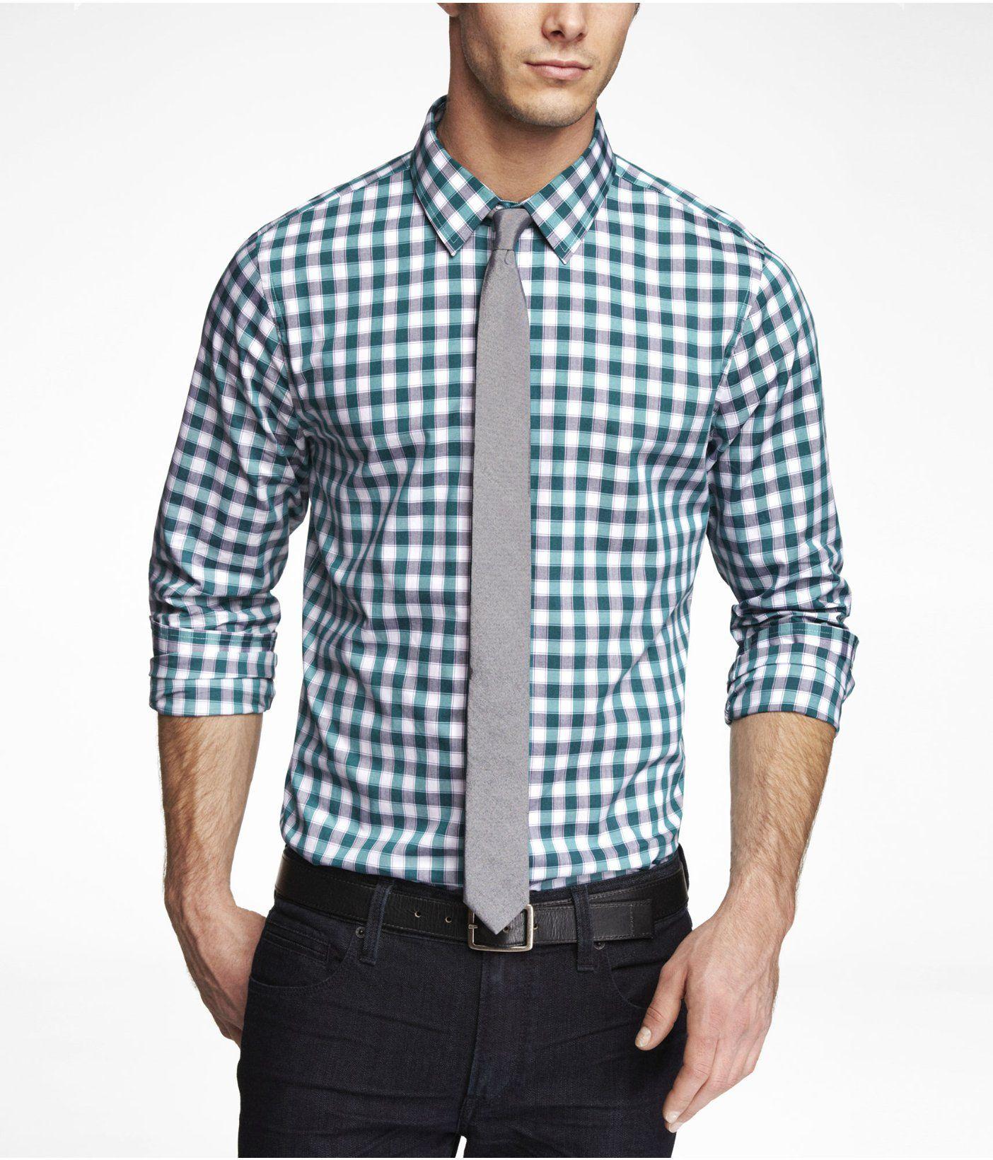 Extra Slim Plaid Dress Shirt Express Button Down Shirts Mens