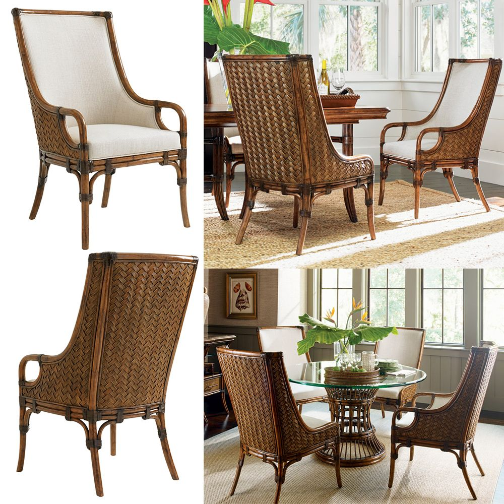 tommy bahama home marabella upholstered arm dining chair w/ woven