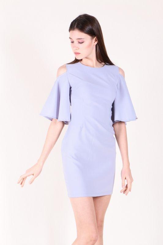Cut-out Shoulder Flutter Sleeve Dress (Lavender)  $38