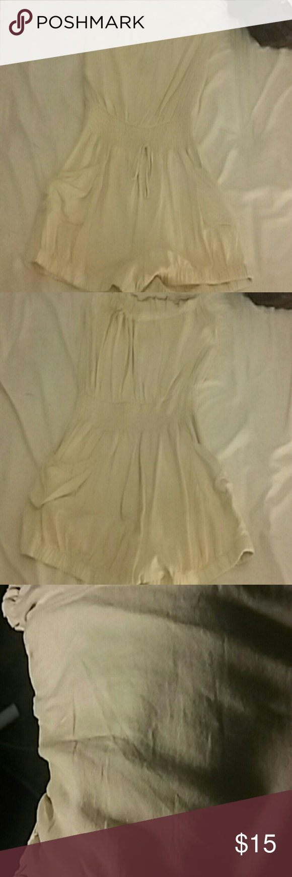 Cream Romper Strapless light cream/beige romper. With side pockets very cute Chesley Dresses
