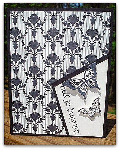Stampin' Up! ... handmade card from Stamp and Sew For Fun .. off-the corner focal point ... black and white ... patterned paper and butterflies ...