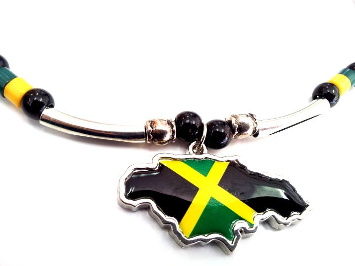 Jamaican Flag Pendant and Silver Plated Necklace in Gift Box NEW